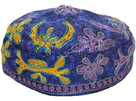 Traditional Royal Blue Bukharian Kippah